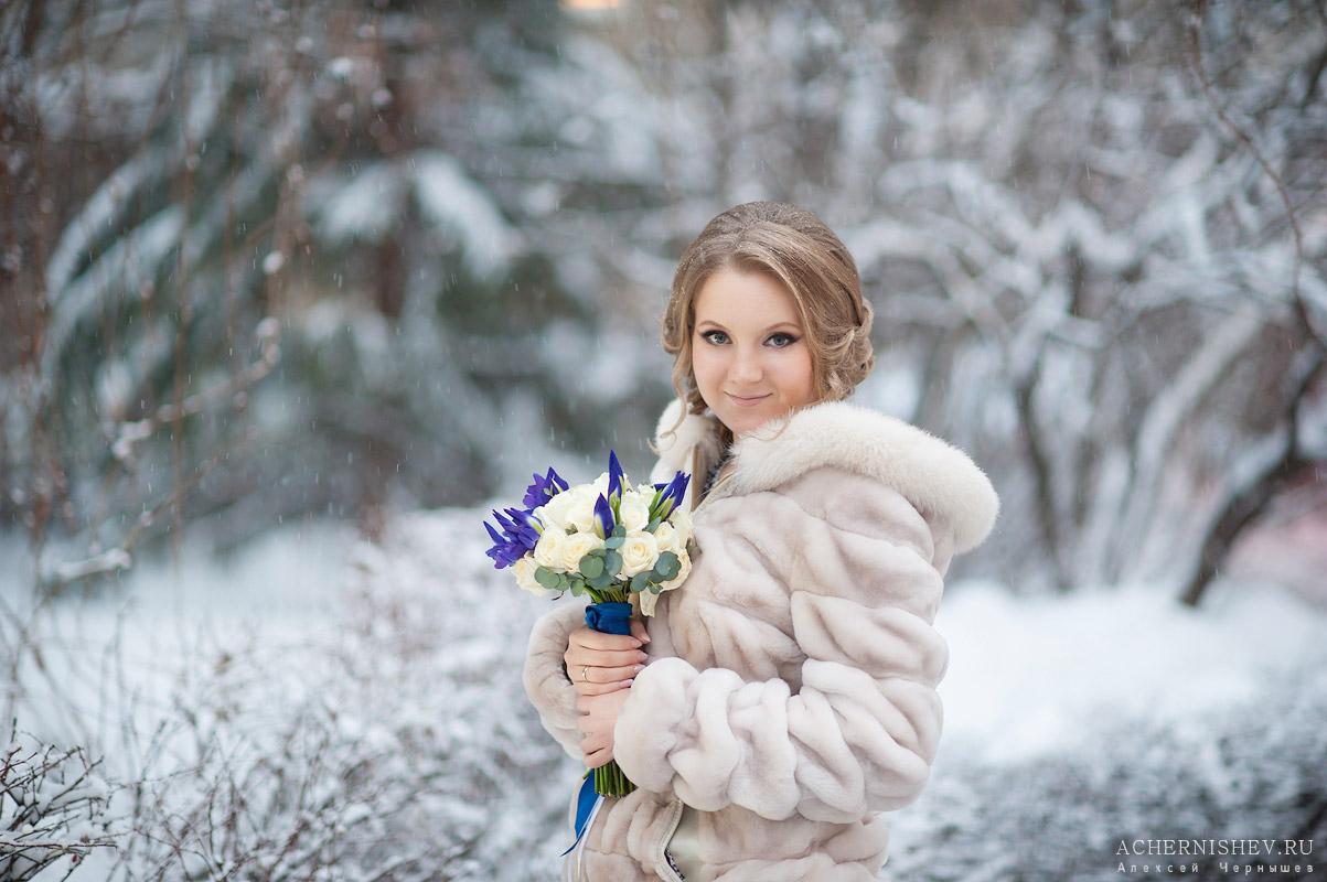 Сад Эрмираж - зимняя фотография невесты