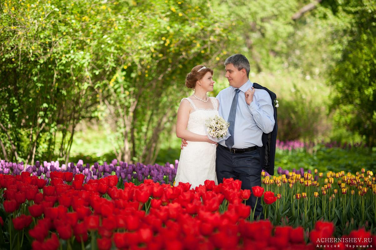 фотосессия у тюльпанов в московском парке