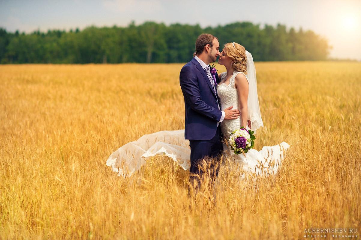 Сиреневая свадьба поцелуй молодоженов
