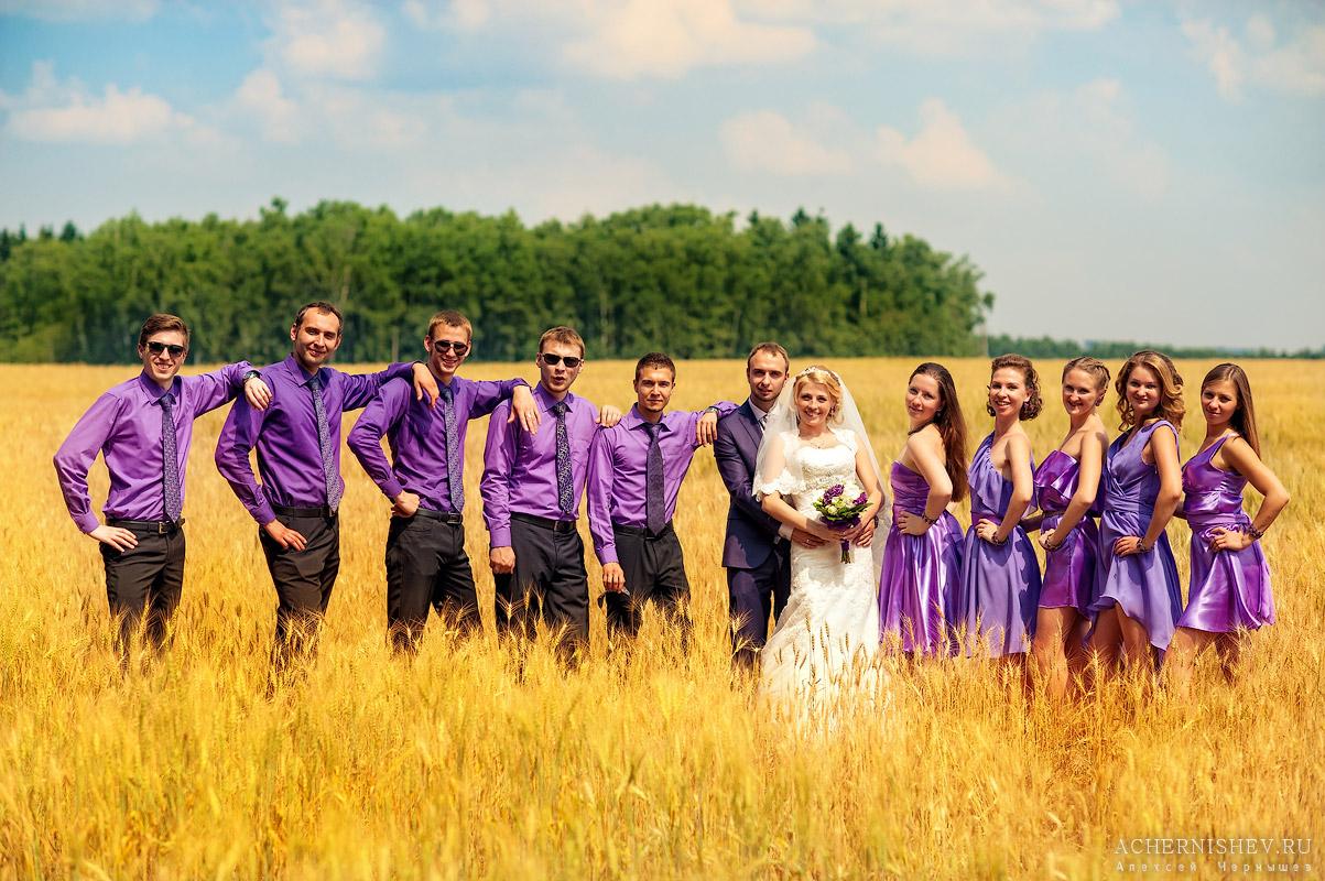 групповая свадебная фотография в поле (все в сиреневом)